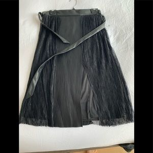 Zara large lace faux leather skirt